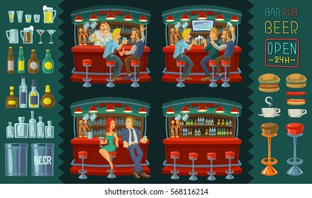 Set vector cartoon illustration of friends spend their free time in a bar, icons for bar interior