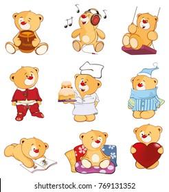 Set of Vector Cartoon Illustration Stuffed Bears for you Design