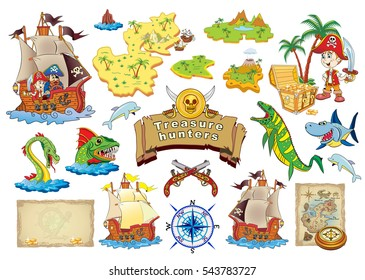 Set Vector cartoon illustration Treasure Hunters.
