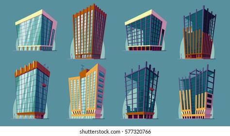 Set vector cartoon illustration of an urban large modern buildings.
