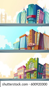 Set vector cartoon illustration of an urban landscape with the buildings of old and modern cinemas. A collection of cartoon banners for advertising