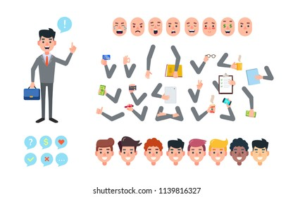 Set of vector cartoon illustrations for creating a character, businessman in a front view. Collection of faces, emotions, hands bent in different positions, diverse accessories.