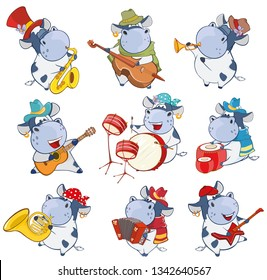 A Set of Vector Cartoon Illustrations Cute Cartoon Character Cow for you Design and Computer Game.