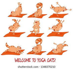 Set of Vector Cartoon Illustrations Essential Yoga Poses for Cats. Vector Illustration of a Cute Cat. Cartoon Character