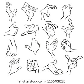 A Set of Vector Cartoon Illustrations. Hands with Different Gestures for you Design. Coloring Book. Outline