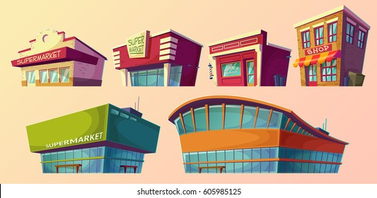 Set of vector cartoon illustrations, icons retro and modern supermarket, barber shop