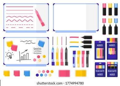 Set of vector cartoon illustrations with magnetic board, multi-colored markers, sponge, stickers and magnets on white background. Back to school.