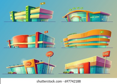 Set of vector cartoon illustrations, various supermarket buildings, shops and car dealership. Icons of modern large malls, stores. Print, template, design element