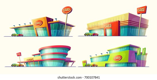 Set of vector cartoon illustrations, various buildings, car sale centers, rental. Print, template, design element