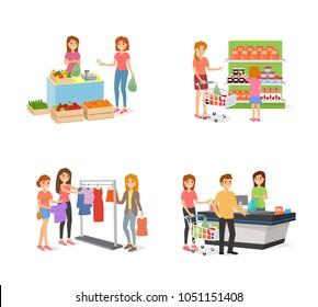 Set of vector cartoon shopping characters.
