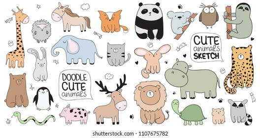Set of vector cartoon sketch illustration with cute doodle animals. Perfect for postcard, birthday, baby book, children room. Panda, koala, sloth, leopard, hippo, raccoon, owl, turtle, lion