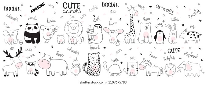 Set of vector cartoon sketch illustration with cute doodle animals. Perfect for postcard, birthday, baby book, children room. Panda, koala, bear, leopard, hippo, fox, giraffe, turtle, lion