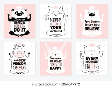 Set of Vector cartoon sketch meditative animals illustration with motivation lettering phrase. Perfect for postcard, Valentine's day, anniversary, birthday, baby book. Yoga poses