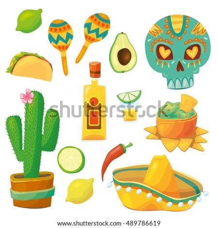 Set Vector Cartoonstyle Mexico Latin America Stock Vector Royalty