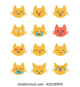 Set of vector cat emoticons in line style. Cute cat emoji in cartoon style. Flat emoji isolated on white background.