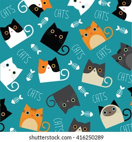 Set of vector cats depicting different breeds and fur color on a blue background