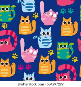 Set of vector cats depicting different breeds and fur color on a blue background. Ammless pattern.