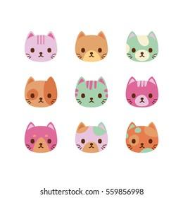 Set of vector cats faces. Cute cat characters.