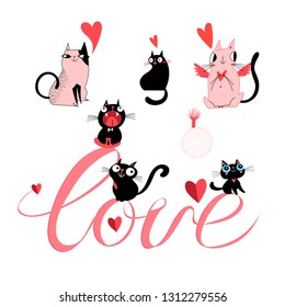 Set of vector cats in love and the inscription love on a white background