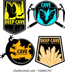 Set of Vector Cave Emblems on Shields with Bats, lizard and crystals