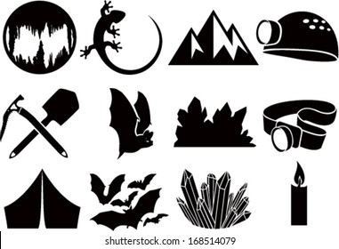 Set of Vector Cave icons with Bats, lizard, cave, flashlight and crystals