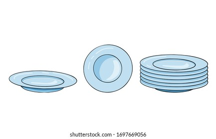 Set of vector ceramic plates in different position in doodle style. A stack of plates, clean dishes. Hand-drawn kitchen utensils, sketch isolated on white background.