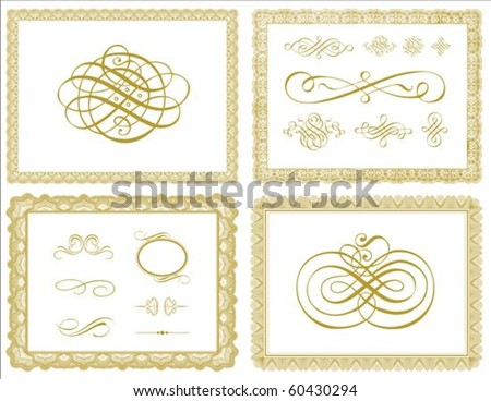 set vector certificate borders ornaments easy stock vector royalty