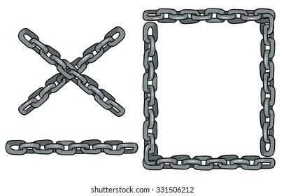set of vector chains for design - frame and parts