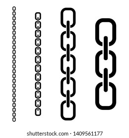 Set of vector chains of different lengths. Vector illustration. Flat design for business financial marketing banking advertising web concept cartoon illustration.