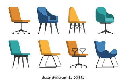 Set of vector chairs of different colors and shapes. Cartoon flat illustration