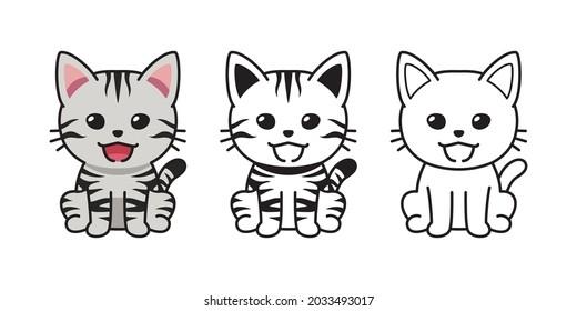 Set of vector character cartoon american shorthair cat for design.