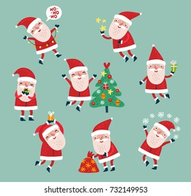 Set of vector characters. Santa Claus. Cute Holiday Set
