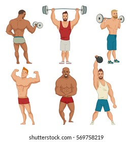 Set of vector characters of strong, athletic men bodybuilders