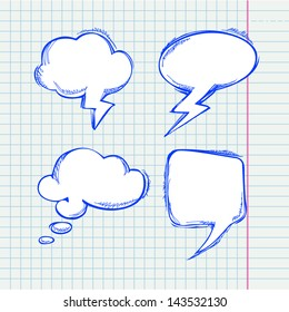 Set of vector chat bubbles in hand drawing style