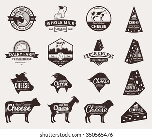 Set of vector cheese logo and icons