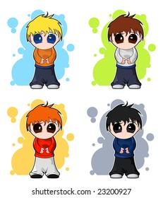 set vector chibi cute boys 260nw