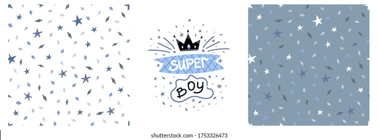 Set of vector children's graphic printing with SuperBoy lettering and seamless pattern with diamond stars on a colored background. Graphics for t-shirts, fabrics, textiles, pajamas, printing, gifts