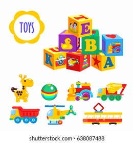 Set of vector children's toys. Isolated on a white background. Including cubes, locomotive, giraffe, cement mixer, dump truck, tram, helicopter, ball.