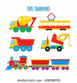 Set of vector children's toys. Transport. Isolated on white background. Including the train, dump truck, truck, tram, mixer, crane.