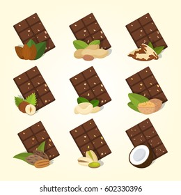 Set of vector chocolate bars with different nuts. Food illustration isolated on background.