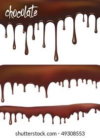 Set of vector chocolate drips