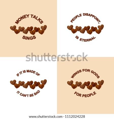 Set Vector Chocolate Slogans Typographic Element Stock Vector