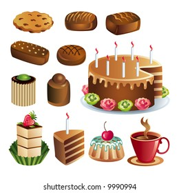 Set of vector chocolate sweets and cakes