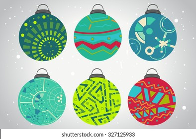 Set of vector Christmas balls, ethnic style, cool colors