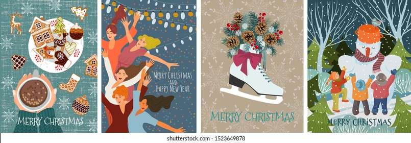 Set of vector christmas cards with gingerbread cookies, children making a snowman, dancing people and skates with fir branches and cones. Cute flat hand draw illustration