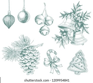 Set of vector Christmas decorations. Hand drawing bells, mistletoe, jingle bells, pine cone, cookie, candy cane and Christmas balls illustration.