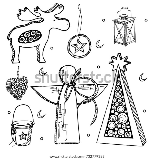 Drawings Of Christmas Decorations.Set Vector Christmas Decorationshand Drawing Christmas Stock