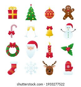 Set of Vector Christmas Icons. Gift, Pine, Ball, Santa, Candle, Gingerbread Man, Candy, Bell, Mistletoe Wreath and such Things. Isolated on White Background.
