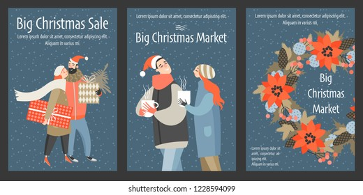 Set of vector Christmas market flyers. Illustrations of funny cartoon characters on the big Christmas sale.