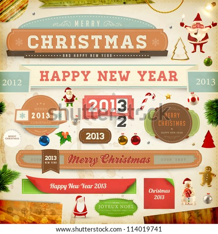 set of vector christmas ribbons old dirty paper textures and vintage new year labels - Dirty Merry Christmas Pictures